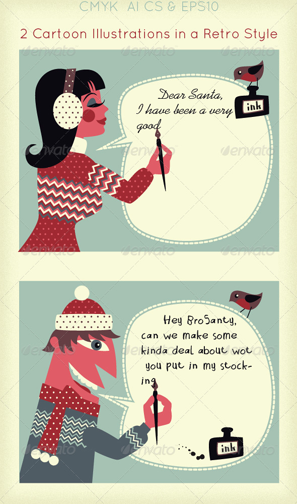 GraphicRiver Writing a Letter to Santa; Winter Message 3406796