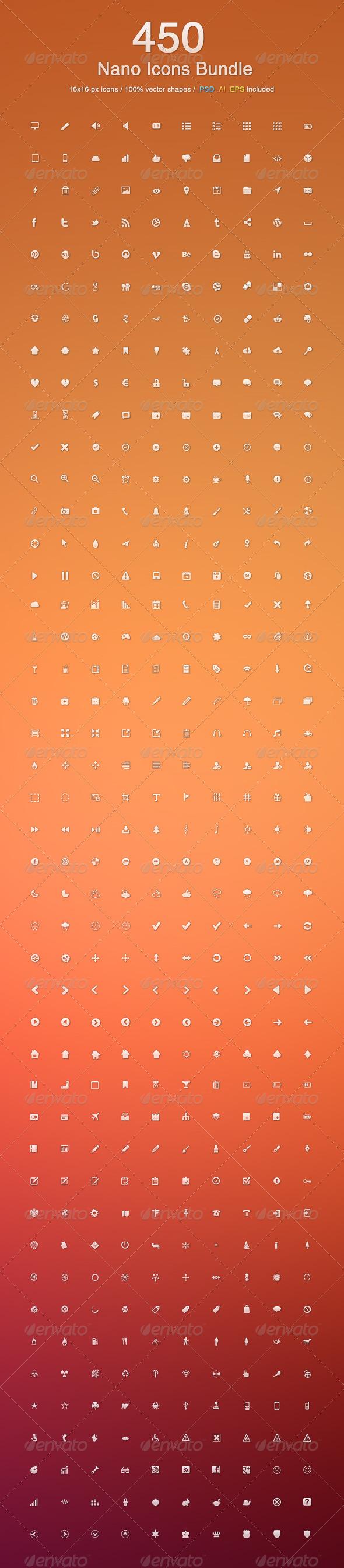 GraphicRiver 450 Nano Icons Bundle 3376075