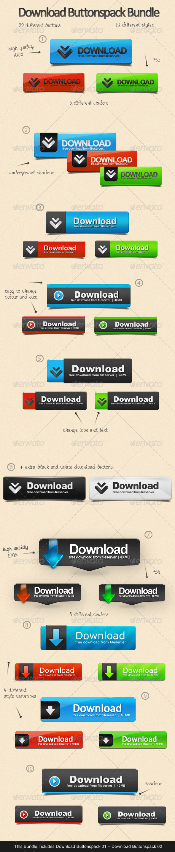 GraphicRiver Download Buttonspack Bundle 3406984