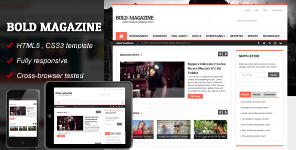 ThemeForest Bold Magazine HTML5 Responsive Template 3407238