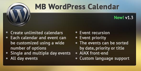 CodeCanyon MB WordPress Calendar 2585635