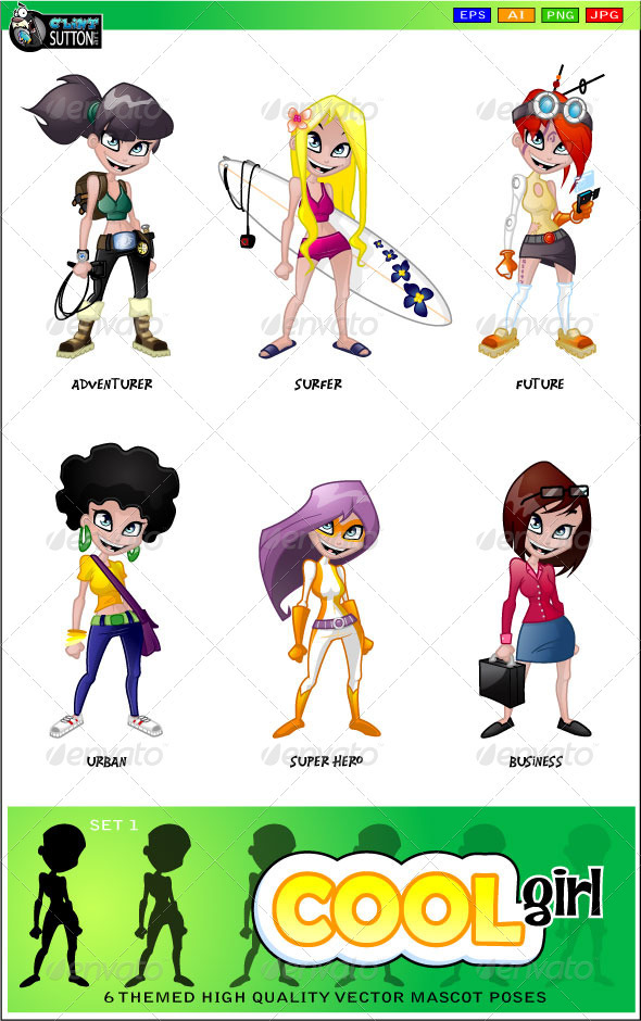 GraphicRiver Cool Girl Mascot 3409149