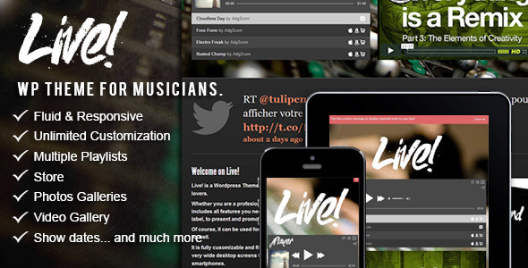 ThemeForest Live Music Wordpress Theme 3409542