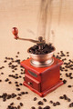 Coffee beans flow from top on coffee grinder - PhotoDune Item for Sale