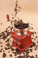 Coffee beans flow from top on vintage coffee grinder - PhotoDune Item for Sale