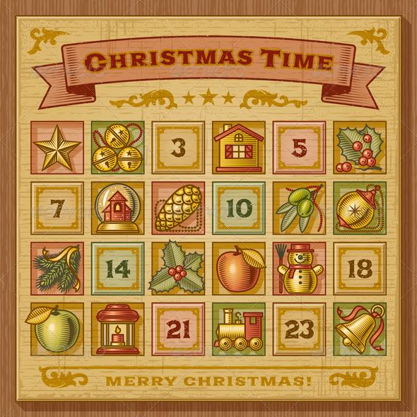 GraphicRiver Vintage Christmas Advent Calendar 3411271