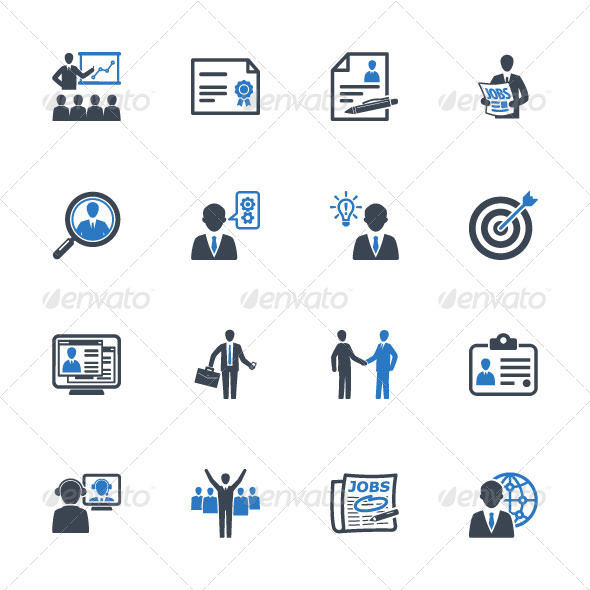 GraphicRiver Employment and Business Icons Blue Series 3411339