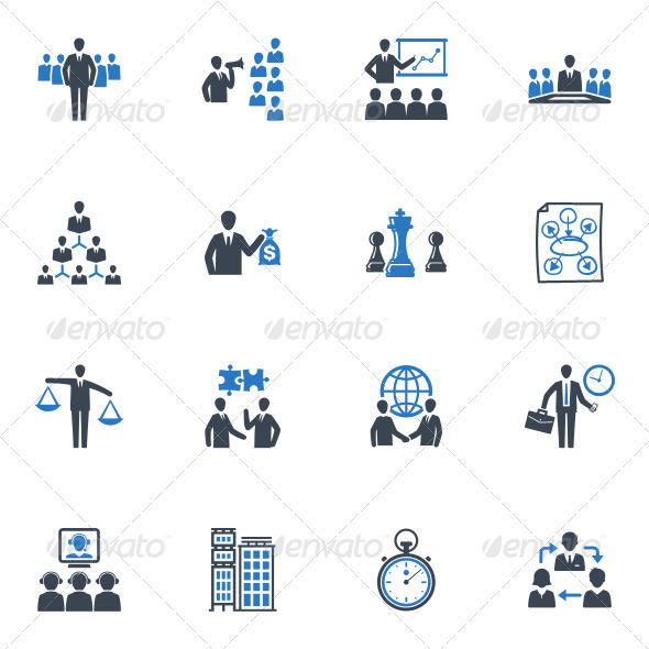 Management and Business Icons - Blue Series - Business Icons