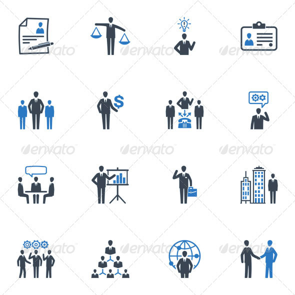 GraphicRiver Management and Human Resource Icons Blue Series 3411373