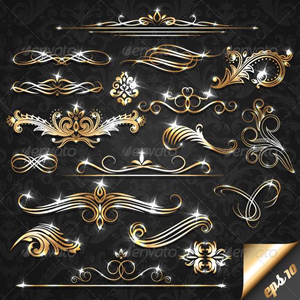 GraphicRiver Golden Ornate Elements 3411468
