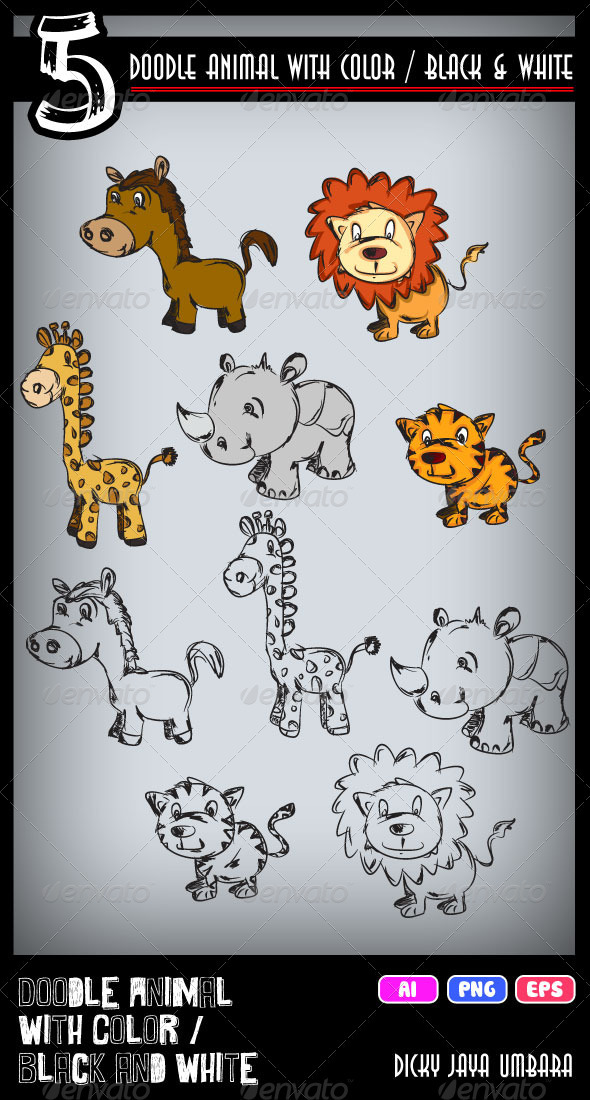 GraphicRiver Doodle Animal One 3411668