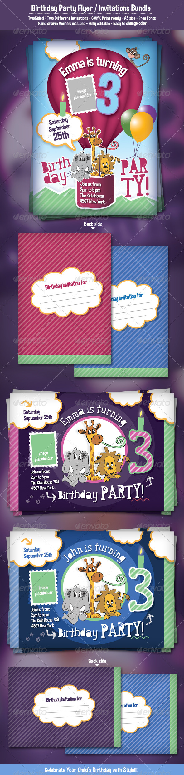 GraphicRiver Birthday Party Flyer Invitations Bundle 3411704