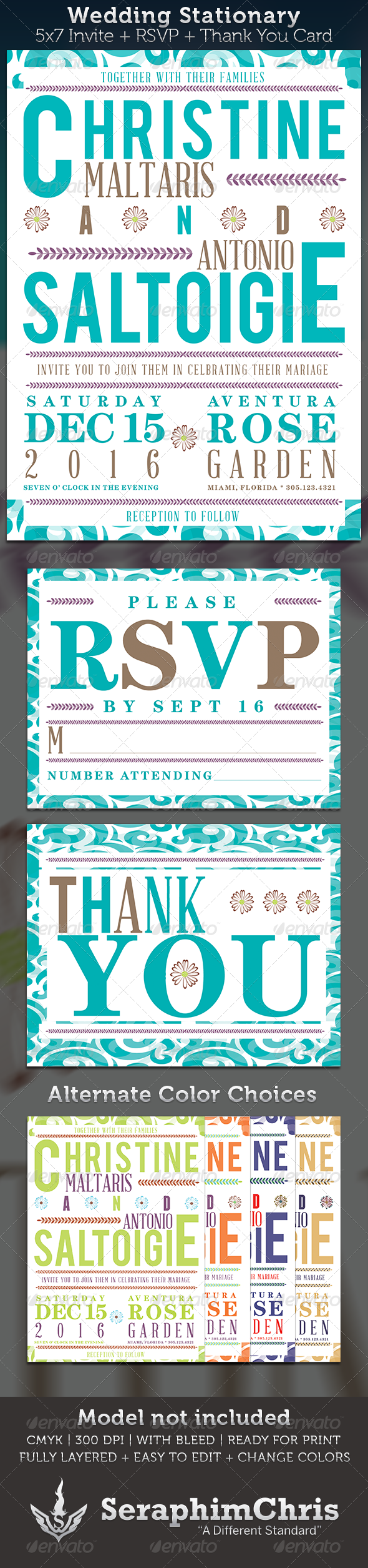 Wedding Invite Stationary Template