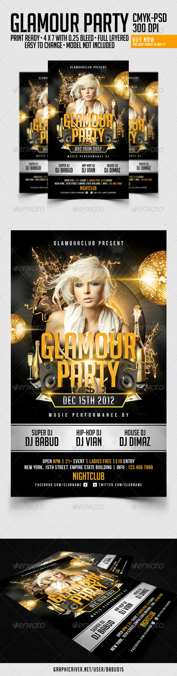 Glamour Party Flyer Template - Clubs & Parties Events
