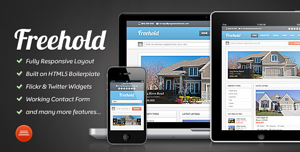ThemeForest Freehold Real Estate Site Template 3411959
