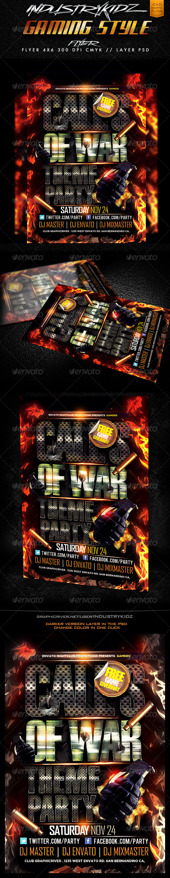 GraphicRiver Gaming Style Flyer Template 3412114