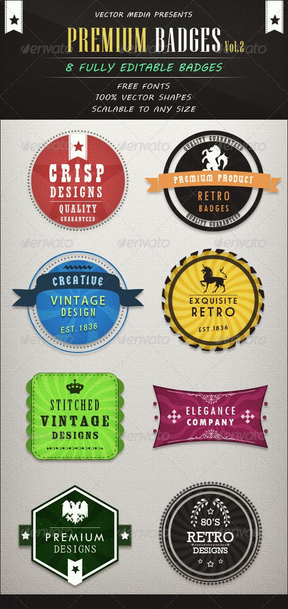 Premium Badges - Vol.2 - Badges & Stickers Web Elements