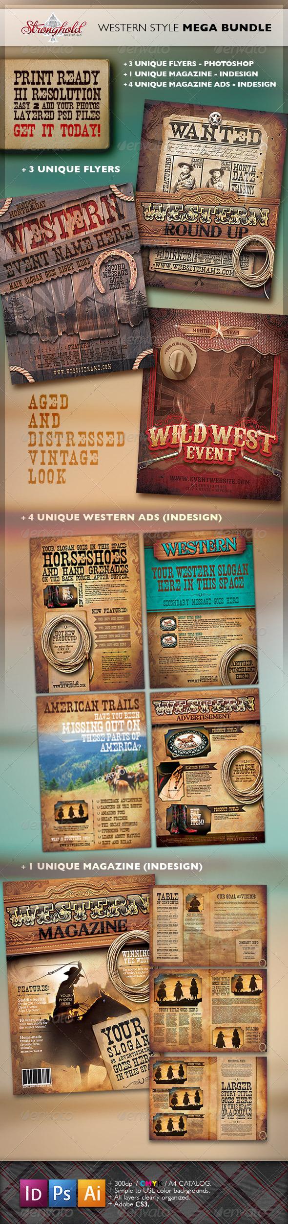 GraphicRiver Vintage Western Branding Bundle 3413606