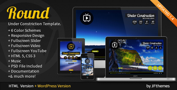 ThemeForest Round Responsive Fullscreen Under Construction 2564994