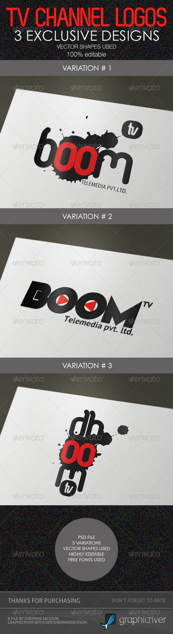 Creative TV Channel Logo Templates (PSD) - Abstract Logo Templates
