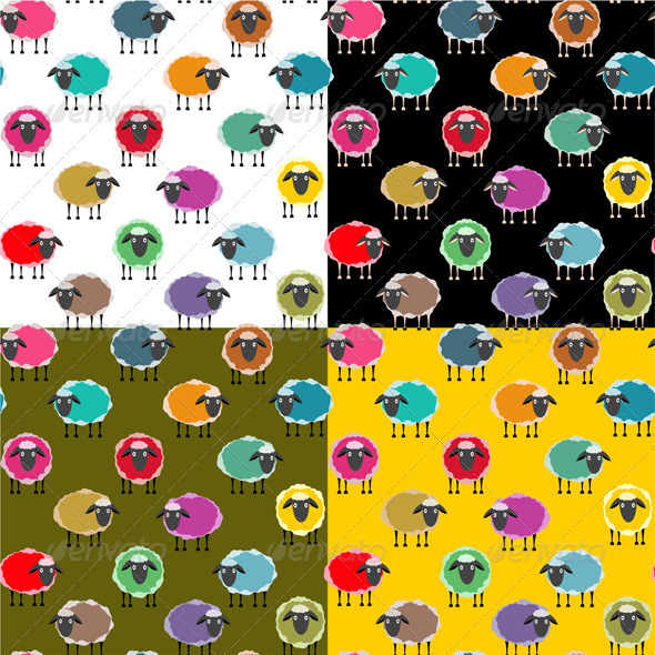 GraphicRiver Colorful Seamless Sheep Pattern 3414014