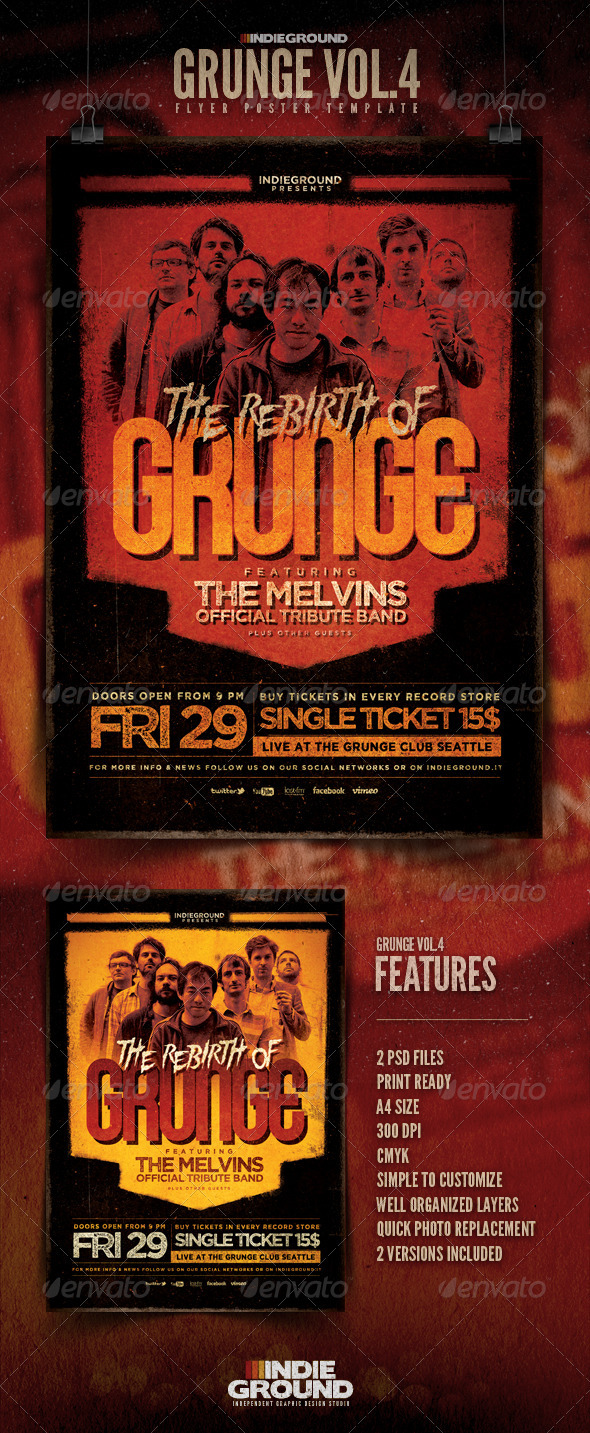 Grunge Flyer/Poster Vol. 4 - Concerts Events