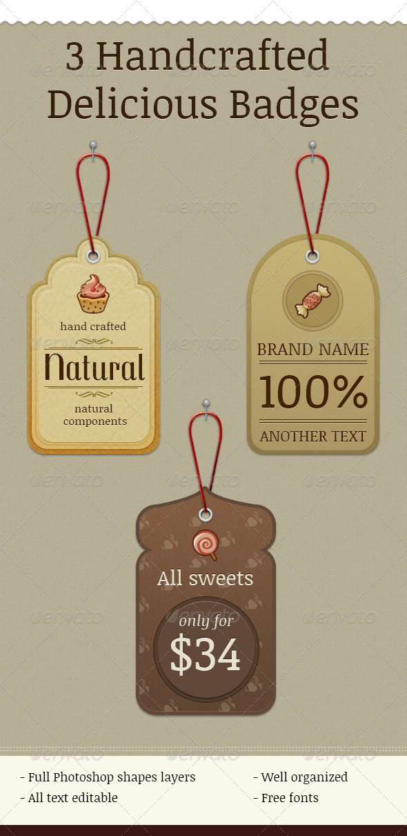 GraphicRiver 3 Handcrafted Delicious Badges 3415129