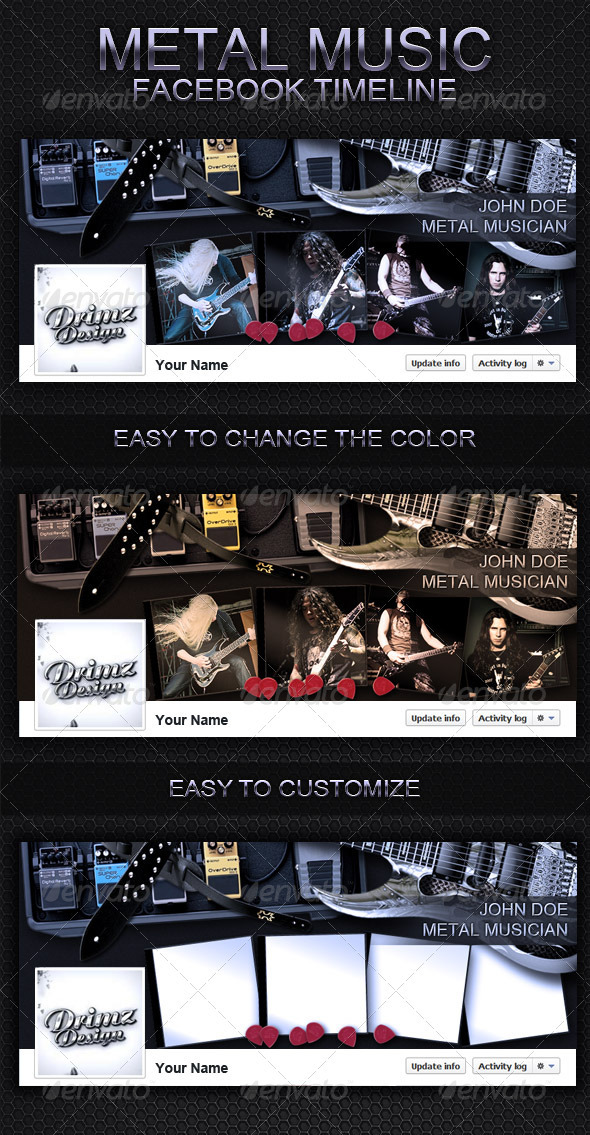 GraphicRiver Metal Music FB Timeline 3386440