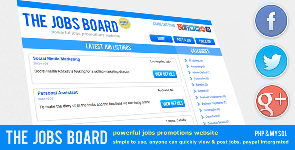 CodeCanyon The Jobs Board Powerful Job Promotions 3415569