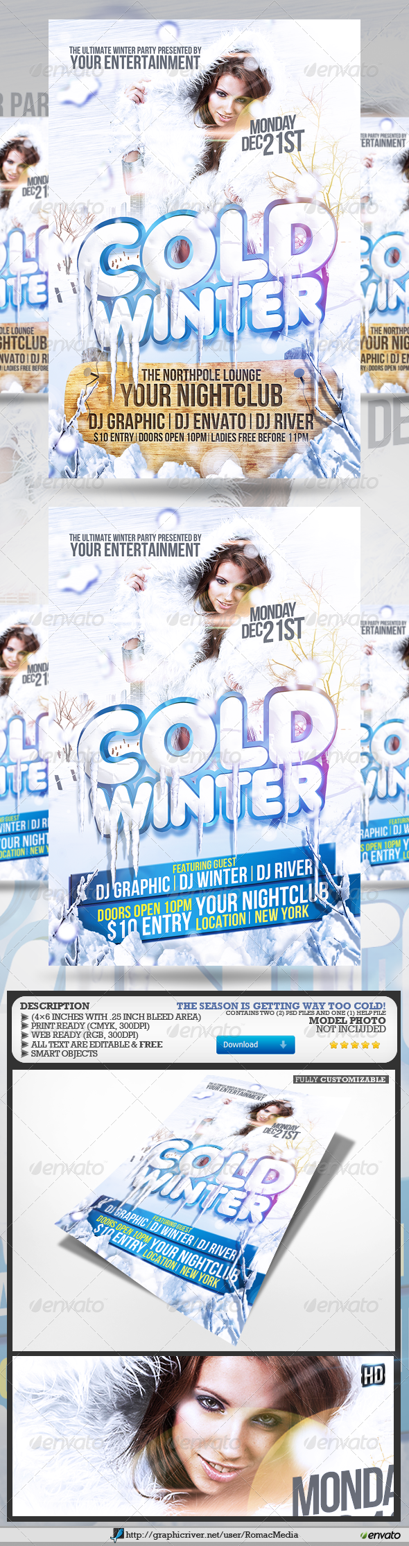 Cold Winter Party Flyer - Clubs & Parties Events