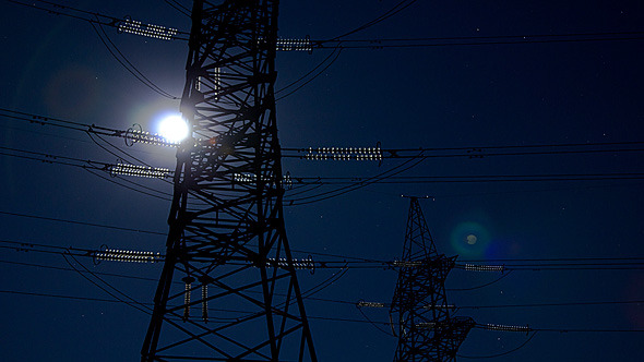 Electricity Pylon And Moon
