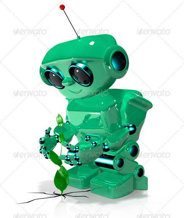 GraphicRiver Green Robot 3393765