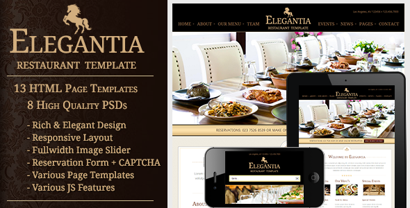 ThemeForest Elegantia Restaurant and Cafe HTML Template 3416388