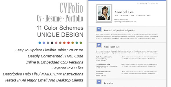 ThemeForest CV Folio Resume Portfolio Email Newsletter 3417515