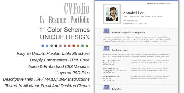 ThemeForest CV Folio Resume Portfolio Email Newsletter 3417515