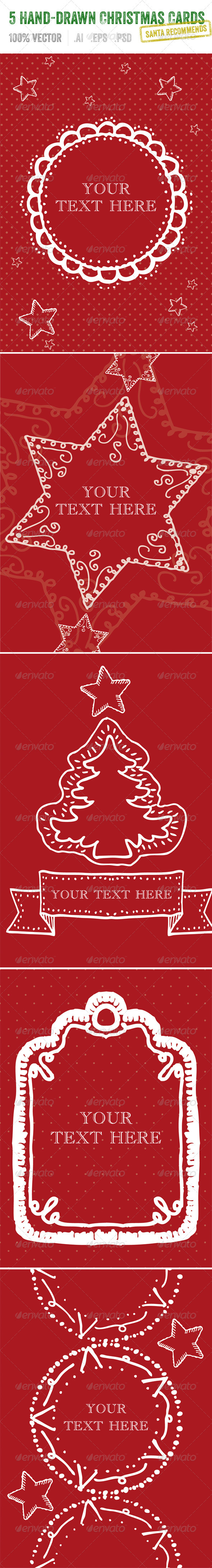 GraphicRiver 5 Hand-Drawn Christmas Cards 3417689