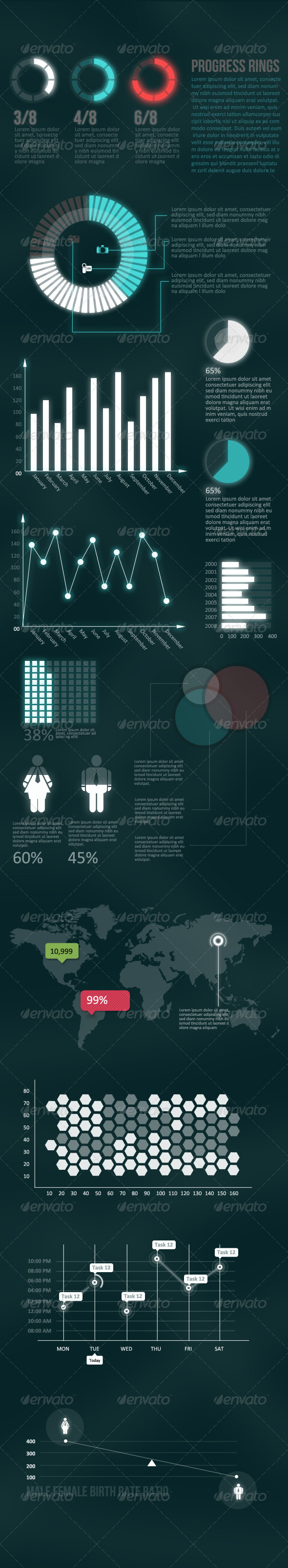 GraphicRiver Futuristic Infographic Elements Pack 3395159