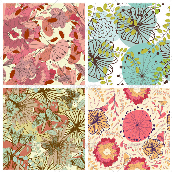 GraphicRiver Floral Seamless Pattern Set 3418263