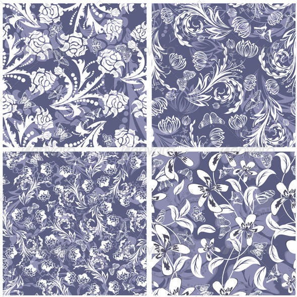GraphicRiver Floral Seamless Pattern Set 3418270