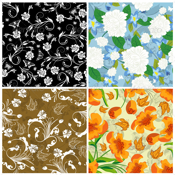 GraphicRiver Floral Seamless Pattern Set 3418271