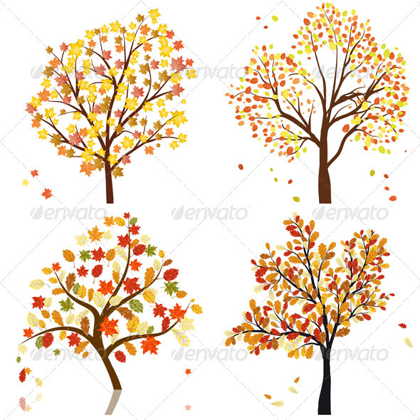 GraphicRiver Set of Four Autumn Trees 3418304