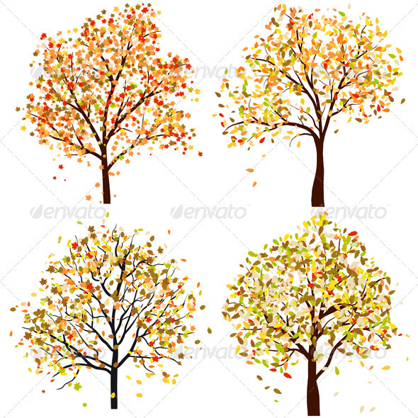 GraphicRiver Set of Four Autumn Trees 3418305