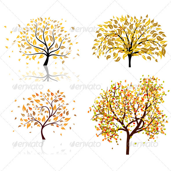 GraphicRiver Set of Four Autumn Trees 3418306