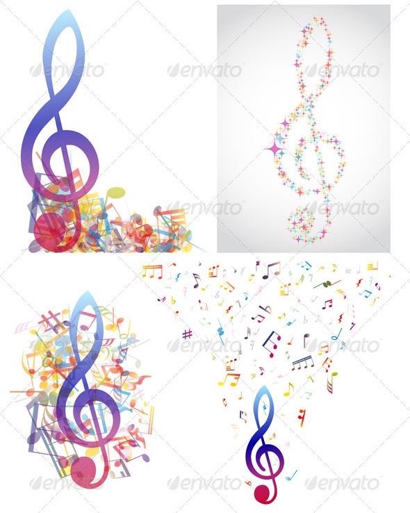 GraphicRiver Multicolour Musical Set 3418319