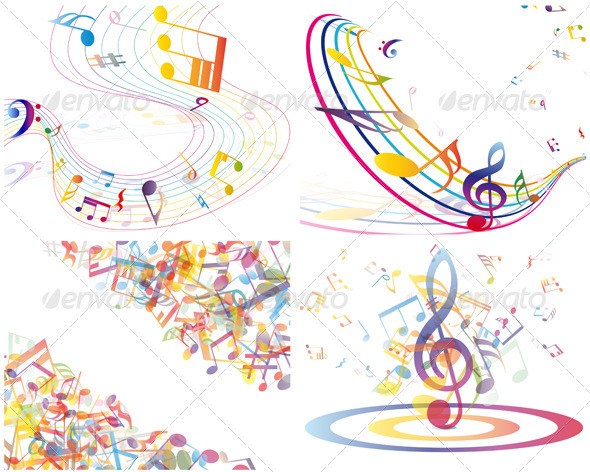 GraphicRiver Multicolour Musical Set 3418321
