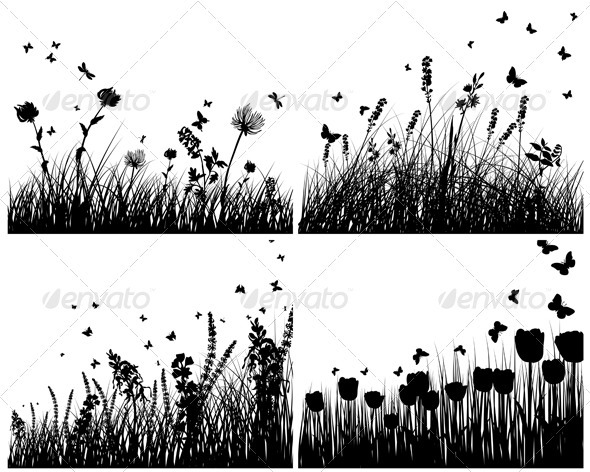 GraphicRiver Meadow Silhouette Set 3418322