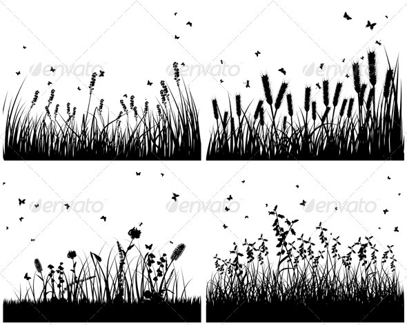 GraphicRiver Meadow Silhouette Set 3418323
