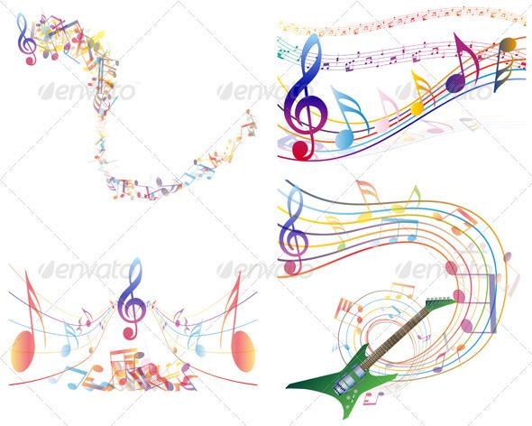 GraphicRiver Multicolour Musical Set 3418342