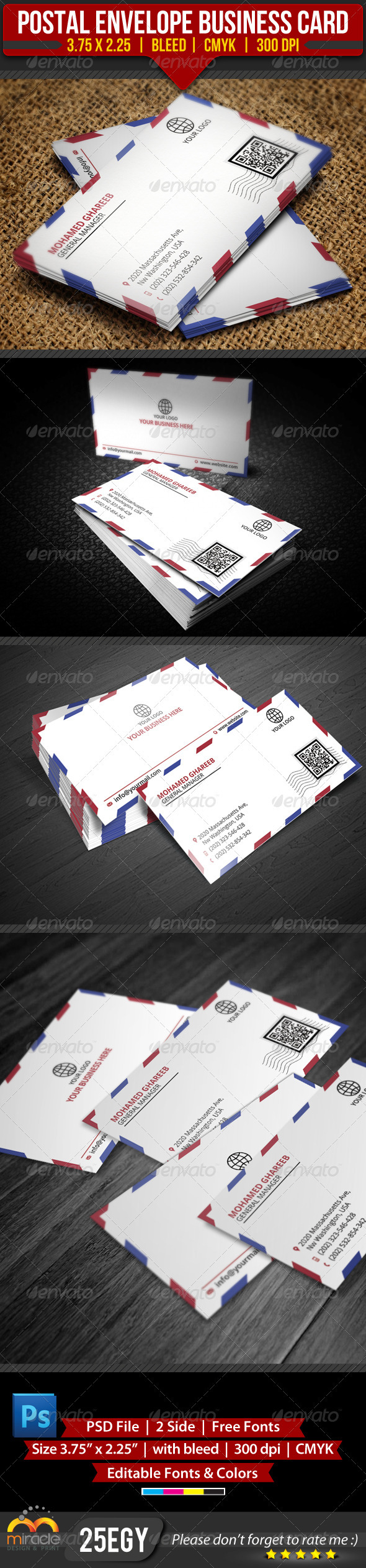 GraphicRiver Postal Envelope Business Card 3418368
