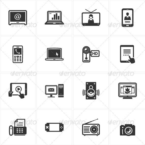 GraphicRiver Black Electronics Icons 3418475